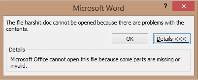 "Open corrupted .Word files - Microsoft cannot open this file because some parts are missing Error [Solved] Open Corrupted Open Corrupted Microsoft Office Files -""Microsoft cannot open this file because some parts are missing Error"" Microsoft cannot open this file because some parts are missing Error"